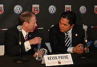 WASHINGTON, DC-JULY 10,2012:  Kevin Payne talks to Erick Thohir during a D.C. United ownership press conference at the POV Lounge in the W Hotel, Washington, DC.