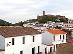 Tower and Moorish mosque above the village of Almonaster La Real, Sierra de Aracena, Huelva province, Spain