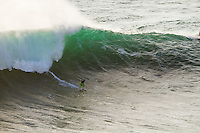 Nazare, Praia do Norte /Portugal (Sunday, October 21, 2012)  Garrett McNamara (HAW), Joel Parkinson (AUS) and Joao de Macedo (PRT) shared a tow in session at Nazare's Praia do Norte today, the site of the world's largest wave ever ridden. -  Photo: joliphotos.com