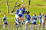 Kieran O'Callaghan Castleisland Desmonds rises over Mike Francis Russell Laune Rangers during their Div 2 clash in Killorglin Saturday evening