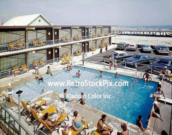 Buccaneer Motel, North Wildwood NJ. Pool & Ocean View. 1960's.