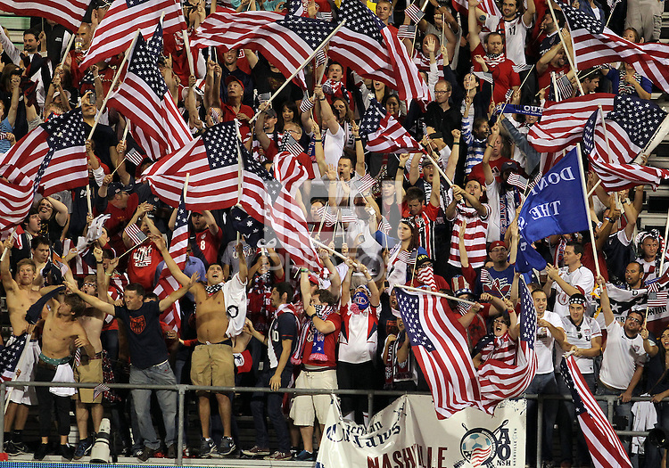 COLUMBUS, OHIO - SEPTEMBER 11, 2012:  Fans of the USA MNT celebrate the victory over Jamaica at the end of the game during a CONCACAF 2014 World Cup qualifying  match at Crew Stadium, in Columbus, Ohio on September 11. USA won 1-0.