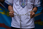 JUNE 29, 2019 - A Uyghur activist wears chains at a demonstration during the G20 Summit in Osaka, Japan. (Photo by Ben Weller/AFLO) (JAPAN) [UHU]