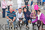 WINNERS: Owners of their terriers who were winners in the Terrier races on Ballyheigue Beach on Friday evening in conjuction with Ballyheigue Summer Festival. L-r: Vincent O'Sullivan ( 1st Fluk), Francis Flaherty ( 2nd Skater), Jenny Dee, Taylor and Mary Dowling (3rd Trixie)............