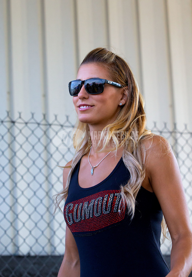 May 17, 2015; Commerce, GA, USA; NHRA top fuel driver Leah Pritchett during the Southern Nationals at Atlanta Dragway. Mandatory Credit: Mark J. Rebilas-USA TODAY Sports