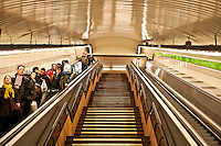 Escalator and stairs leading to the metro, Madrid, Spain