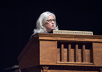 Wendy Sternberg, Vice President for Academic Affairs and Dean of the College.<br /> The class of 2021 are welcomed to Occidental College by trustees, faculty and staff in Thorne Hall on Aug. 29, 2017 during Oxy's 130th Convocation ceremony, a tradition that formally marks the start of the academic year and welcomes the new class.<br /> (Photo by Marc Campos, Occidental College Photographer)