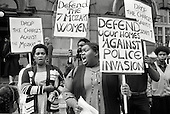Residents of Mozart Estate, North Paddington, picket Marylebone Magistrates Court in protest at the arrest of 7 black women during an exercise involving 50 policemen with dogs; 1983.