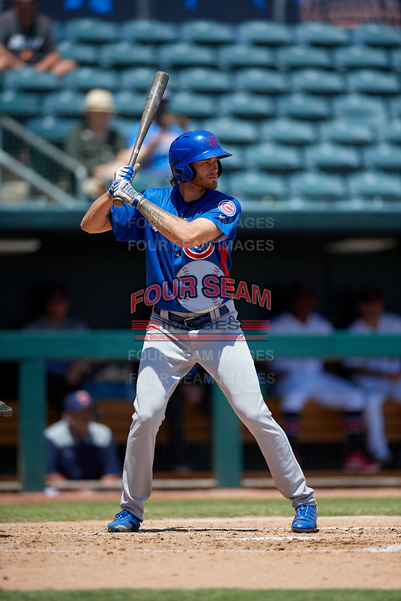 Tennessee Smokies starting pitcher Zach Hedges (12) at bat during a Southern League game against the Jacksonville Jumbo Shrimp on April 29, 2019 at Baseball Grounds of Jacksonville in Jacksonville, Florida.  Tennessee defeated Jacksonville 4-1.  (Mike Janes/Four Seam Images)