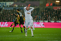 Sunday  14th   December 2014 <br /> Pictured: Gylfi Sigurosson of Swansea City reacts after missing a shot <br /> Re: Barclays Premier League Swansea City v Tottenham Hotspur  at the Liberty Stadium, Swansea, Wales,UK