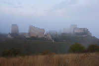 LES ANDELEYS, FRANCE - OCTOBER 10: General view of the Chateau Gaillard in a fog, on October 10, 2008 in Les Andelys, Normandy, France. The chateau was built by Richard the Lionheart in 1196, came under French control in 1204 following a siege in 1203. It was later destroyed by Henry IV in 1603 and classified as Monuments Historiques in 1852. (Photo by Manuel Cohen)