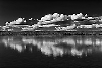 Clouds reflected in the Mackenzie River, Ft. Simpson, Northwest Territories, Canada<br />