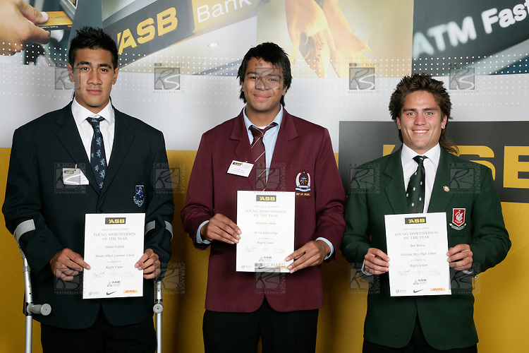 Boys Rugby Union finalists Daniel Faleafa, Fa'atiga Lemalu & Ben Botica. ASB College Sport Young Sportperson of the Year Awards 2007 held at Eden Park on November 15th, 2007.