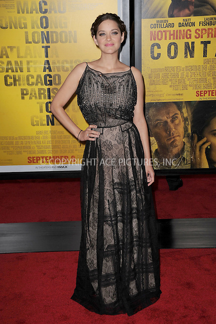 WWW.ACEPIXS.COM . . . . . .September 7, 2011...New York City...Marion Cotillard attends the 'Contagion' premiere at the Rose Theater, Jazz at Lincoln Center on September 7, 2011 in New York City. ....Please byline: KRISTIN CALLAHAN - ACEPIXS.COM.. . . . . . ..Ace Pictures, Inc: ..tel: (212) 243 8787 or (646) 769 0430..e-mail: info@acepixs.com..web: http://www.acepixs.com .