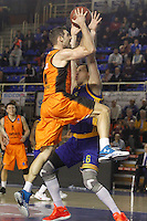 Montakit Fuenlabrada's Ian O'Leary (l) and Herbalife Gran Canaria's Darko Planinic during Eurocup, Top 16, Round 2 match. January 10, 2017. (ALTERPHOTOS/Acero) /NORTEPHOTO.COM