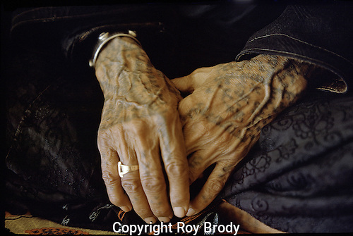 Tattoed hands of Bedouin woman in northern Israel.