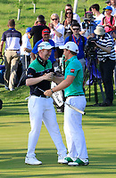 Team Ireland / Paul Dunne &amp; Gavin Moynihan in action at the GolfSixes played at The Centurion Club, St Albans, England. <br /> 06/05/2018.<br /> Picture: Golffile | Phil Inglis<br /> <br /> <br /> All photo usage must carry mandatory copyright credit (&copy; Golffile | Phil Inglis)