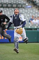 Trenton Thunder catcher Kyle Higashioka (8) during game against the Akron Aeros at ARM & HAMMER Park on April 17, 2013 in Trenton, New Jersey.  Akron defeated Trenton 10-6.  Tomasso DeRosa/Four Seam Images