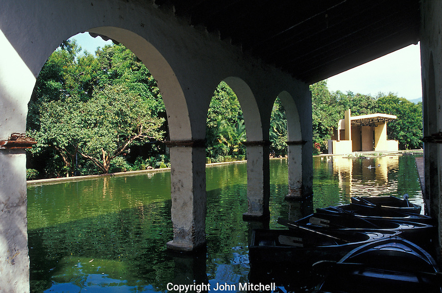The boat house and pond in the Jardin Borda, Cuernavaca, Morelos, Mexico. The 18th-century Borda Garden was the summer residence of Emperor Maximilian and Empress Carlota.