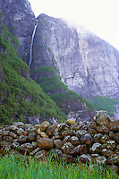 Spring meltdown results in huge cascades down the 1000-meter cliffs of Lysefjorden, Norway. 2011