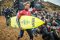 BELLS BEACH, Torquay, Victoria, Australia    (Thursday, April 5, 2018) Pat Gudauskas (USA) - The Rip Curl Pro Bells Beach, Stop No. 2 on the World Surf League (WSL) Championship Tour (CT), wrapped up today with some solid clean 2m waves coming through Bells on the incoming tide.<br /> Italo Ferreira (BRA) could not have chosen a more dramatic context in which to earn his first-ever Championship Tour event win. Thursday afternoon at the Rip Curl Pro Bells Beach, the electric Brazilian defeated the man of the hour, three-time World Champion Mick Fanning (AUS), whose impending retirement after Bells added a bittersweet weight to the proceedings. <br /> <br /> <br /> But when the two paddled out for what would be a first for one of them, and a last for the other, none of that mattered to Ferreira. Instead, he showcased what he is capable of, and made his first serious step toward joining a World Title conversation.<br /> <br /> Plus, if you're going to win your first CT event, taking home the most coveted trophy in surfing isn't a bad way to go about it. Add Mick Fanning to the mix and it's even sweeter.<br /> <br /> &quot;I can't believe it,&quot; said Ferreira. &quot;It's just amazing. Mick Fanning is a hero to me. He's inspired me every single day, at every single competition. Remember his movie 3 Degrees? I've seen that 2000 times.&quot; <br /> <br /> Six-time World Champion Stephanie Gilmore (AUS)  took a step toward winning a seventh Title Thursday when she won the Rip Curl Women's Pro Bells Beach. She also became one of just a few surfers -- Mark Richards, Kelly Slater and Mick Fanning among them -- to ring the winner's bell an incredible fourth time. Photo: joliphotos.com
