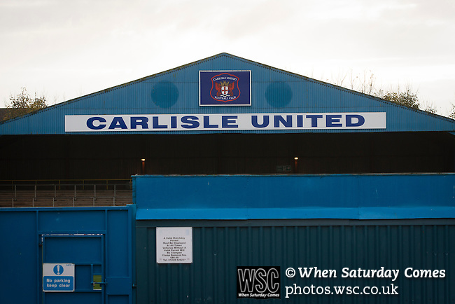 Carlisle United 1 Accrington Stanley 0, 15/11/2014. Brunton Park, League Two. The Warwick Road stand prior to the English League Two match between Carlisle United and visitors Accrington Stanley at Brunton Park. The match was won by the home team by one goal to nil, the winner scored by Derek Asamoah in the 21st minute. The match was watched by 4,069 spectators. Photo by Colin McPherson.