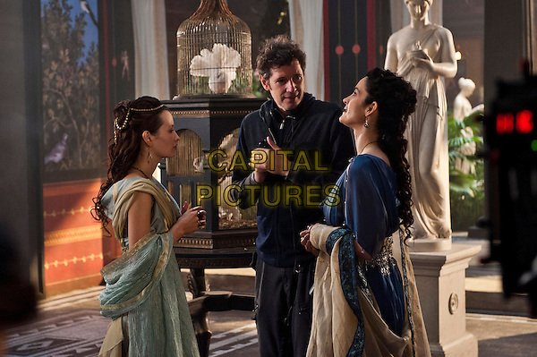 Emily Browning, Director Paul W.S. Anderson and Carrie-Anne Moss <br /> on the set of Pompeii (2014) <br /> *Filmstill - Editorial Use Only*<br /> CAP/FB<br /> Image supplied by Capital Pictures
