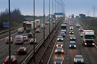 Rush hour  traffic on M1 Motorway near Hertfordshire, United Kingdom.