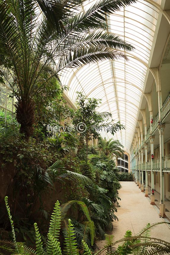 France, Alpes-Maritimes (06), Beausoleil, le Riviera Palace, le jardin d'hiver attribué à Gustave Eiffel..(property release sauf publicité)