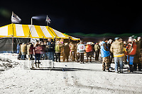 The party seen in the main camp during the 39th Annual International Eelpout Festival, at Leech Lake in Walker, Minnesota, February 23, 2018. Crowds that are more than 10 times the population of tiny Walker, Minn. (pop. 1,069) gather on Minnesota&rsquo;s third largest lake (112,000-acres), Leech Lake, for a festival named for one of the ugliest bottom-dwelling fish, the eelpout.<br /> <br /> Photo by Matt Nager