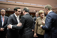 Pictured L-R: Greek Prime Minister Alexis Tsipras, French President Francois Hollande, German Chancellor Angela Merkel and Donald Tusk Thursday 18 February 2016<br /> Re: David Cameron looks set to secure European Union deal on Britain's reforms during a summit in Brussels, Belgium.