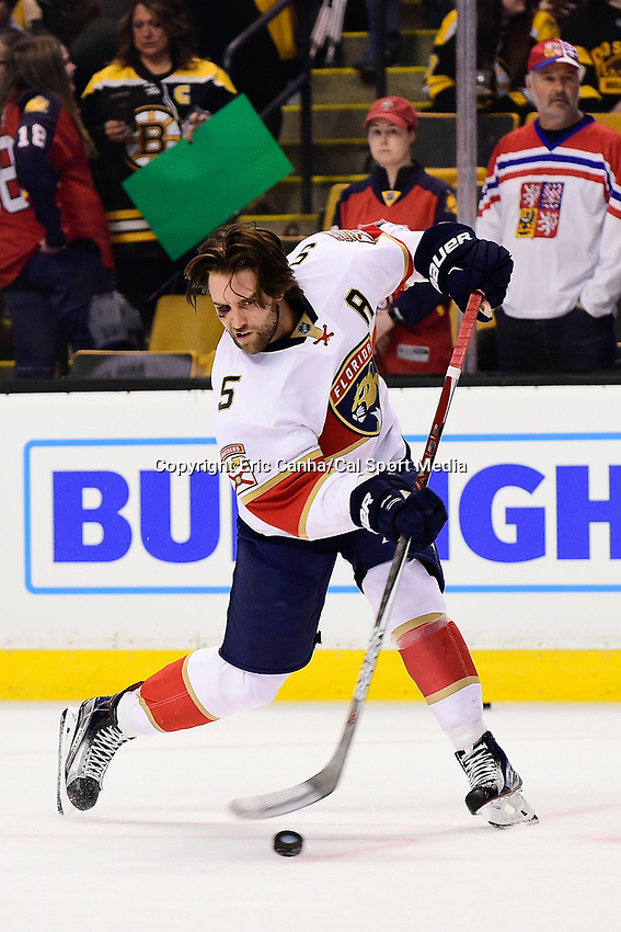 Monday, December 5, 2016: Florida Panthers defenseman Aaron Ekblad (5) warms up before the start of the National Hockey League game between the Florida Panthers and the Boston Bruins held at TD Garden, in Boston, Mass. Boston defeats Florida 4-3 in overtime. Eric Canha/CSM