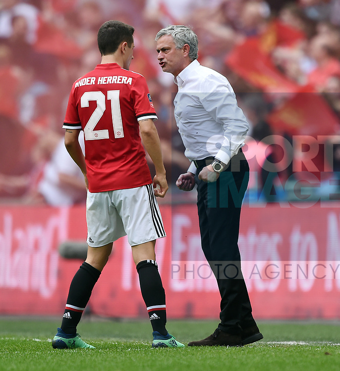 A Frustrated Manchester United Manager Jose Mourinho shouts at Ander Herrera of Manchester United during the FA cup semi-final match at Wembley Stadium, London. Picture date 21st April, 2018. Picture credit should read: Robin Parker/Sportimage