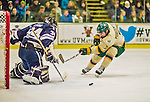 4 January 2014:  University of Vermont Catamount Forward Tom Forgione, a Freshman from South Burlington, VT, is unable to get the puck by Yale University Bulldog goaltender Alex Lyon, a Freshman from Baudette, MN, during the second period at Gutterson Fieldhouse in Burlington, Vermont. With an empty net and seconds remaining, the Cats came back to tie the game 3-3 against the 10th seeded Bulldogs. Mandatory Credit: Ed Wolfstein Photo *** RAW (NEF) Image File Available ***