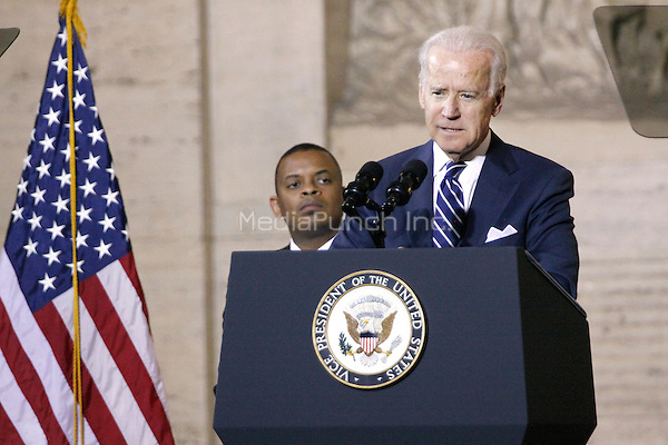PHILADELPHIA, PA - FEBRUARY 6 :  Vice President Joe Biden pictured speaking at an event highlighting the need for infrastructure investment and unveiling Amtrak's new Cities Sprinter electric locomotive at 30th Street Station in Philadelphia, Pa on February 6, 2014  photo credit  Star Shooter / MediaPunch  photo credit  Star Shooter / MediaPunch