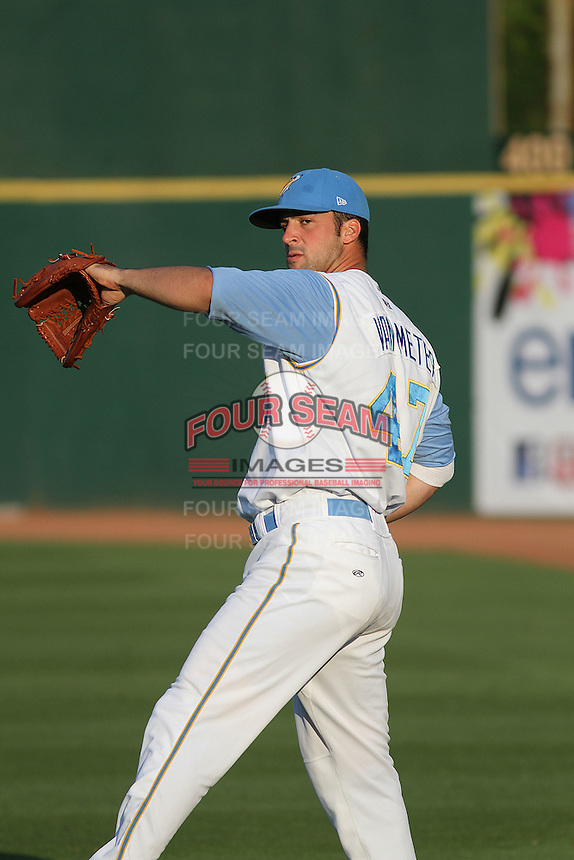 Myrtle Beach Pelicans pitcher Joe Van Meter #47 throwing in the outfield before a game against the Frederick Keys at Tickerreturn.com Field at Pelicans Ballpark on April 25, 2012 in Myrtle Beach, South Carolina. Myrtle Beach defeated Frederick by the score of 3-1. (Robert Gurganus/Four Seam Images)
