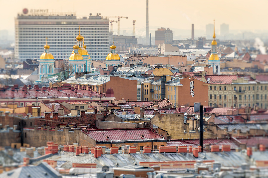 Aerial view of Saint Petersburg from Saint Isaac's Cathedral dome and view of Naval Cathedral of St. Nicholas