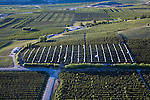 Aerial view of apple and cherry orchards in Bray's Landing Area near Orondo, WA.Douglas County.  White fabric is for protecting cherries from rain.