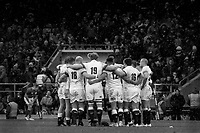 Twickenham, United Kingdom.  The England Rugby team, create a huddle, as Owen FARRELL attempts to convert and England late try.   Natwest 6 Nations : England vs Ireland. at the  RFU Stadium, Twickenham, England, <br /> <br /> Saturday   17.03.18<br /> <br /> [Mandatory Credit; Peter Spurrier/Intersport-images]