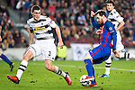 VfL Borussia Monchengladbach's Andreas Christensen, FC Barcelona's Leo Messi  during Champions League match between Futbol Club Barcelona and VfL Borussia Mönchengladbach  at Camp Nou Stadium in Barcelona , Spain. December 06, 2016. (ALTERPHOTOS/Rodrigo Jimenez)