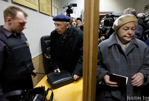 The parents of fallen Russian oligarch Mikhail Khodorokovsky, Boris and Marina Kkhodorkovsky, arrive for their son's hearing at a court in Moscow March 31, 2009. Jailed Russian businessman and Kremlin critic Mikhail Khodorkovsky failed in multiple legal challenges against the terms of a pending trial that his supporters say is politically motivated.