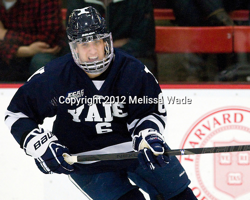 Stu Wilson (Yale - 6) - The Yale University Bulldogs defeated the Harvard University Crimson 5-1 on Saturday, November 3, 2012, at Bright Hockey Center in Boston, Massachusetts.