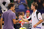 SHANGHAI, CHINA - OCTOBER 14:  Roger Federer of Switzerland shakes hand with Andreas Seppi of Italy at the end of their match during day four of the 2010 Shanghai Rolex Masters at the Shanghai Qi Zhong Tennis Center on October 14, 2010 in Shanghai, China.  (Photo by Victor Fraile/The Power of Sport Images) *** Local Caption *** Roger Federer; Andreas Seppi