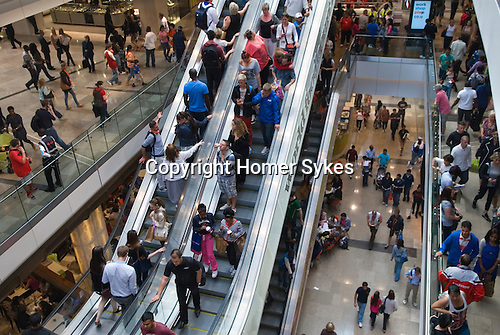 Westfield Shopping Centre Stratford City east London Uk Busy crowded with tourists