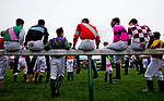 LOUISVILLE, KY - MAY 04: Jockeys sit on the rail during the Survivor's Parade on Kentucky Oaks Day at Churchill Downs on May 4, 2018 in Louisville, Kentucky. (Photo by Alex Evers/Eclipse Sportswire/Getty Images)