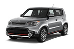 2018 KIA Soul Exclaim 5 Door Hatchback Angular Front stock photos of front three quarter view