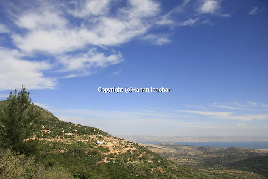 Israel, Upper Galilee, a view pf the Moshav Amirim and the Sea of Gallilee from Amirey Hagalil Spa Hotel