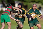 Manoa Lesavua has Sione Sione in support as he busts the tackle of Baden Morey. Counties Manukau Premier Club Rugby game between Pukekohe and Waiuku played at Colin Lawrie Fields, Pukekohe, on Saturday July 3rd 2010. Pukekohe won 31 - 12 after leading 15 - 9 at halftime.