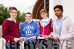 Liam O'Brien, Kieran Keane, Alex Hartnett and Alamin Saiful, students attending CBS, The Green, pictured after receiving their Junior Certificate results on Wednesday morning.