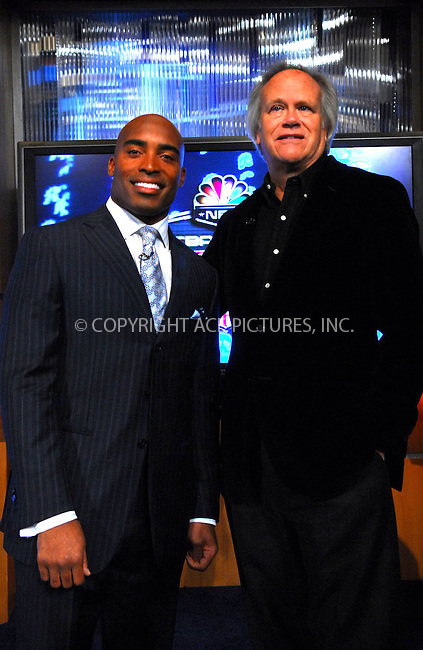 WWW.ACEPIXS.COM . . . . . ....February 13, 2007, New York City. ....Tiki Barber, here with Dick Ebersol, holds Press Conference to be named Correspondent for NBC News 'Today Show'. ....Please byline: KRISTIN CALLAHAN - ACEPIXS.COM.. . . . . . ..Ace Pictures, Inc:  ..(212) 243-8787 or (646) 769 0430..e-mail: info@acepixs.com..web: http://www.acepixs.com